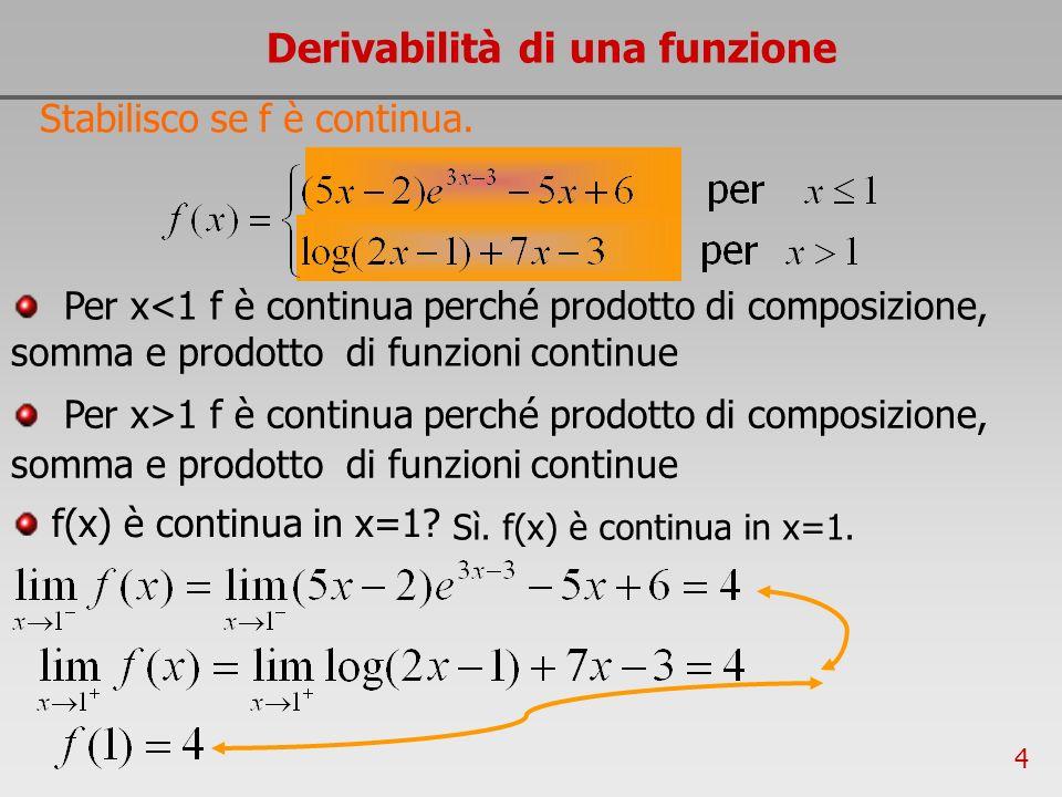 4 Derivabilità di una funzione Stabilisco se f è continua. Sì. f(x) è continua in x=1. f(x) è continua in x=1? Per x<1 f è continua perché prodotto di