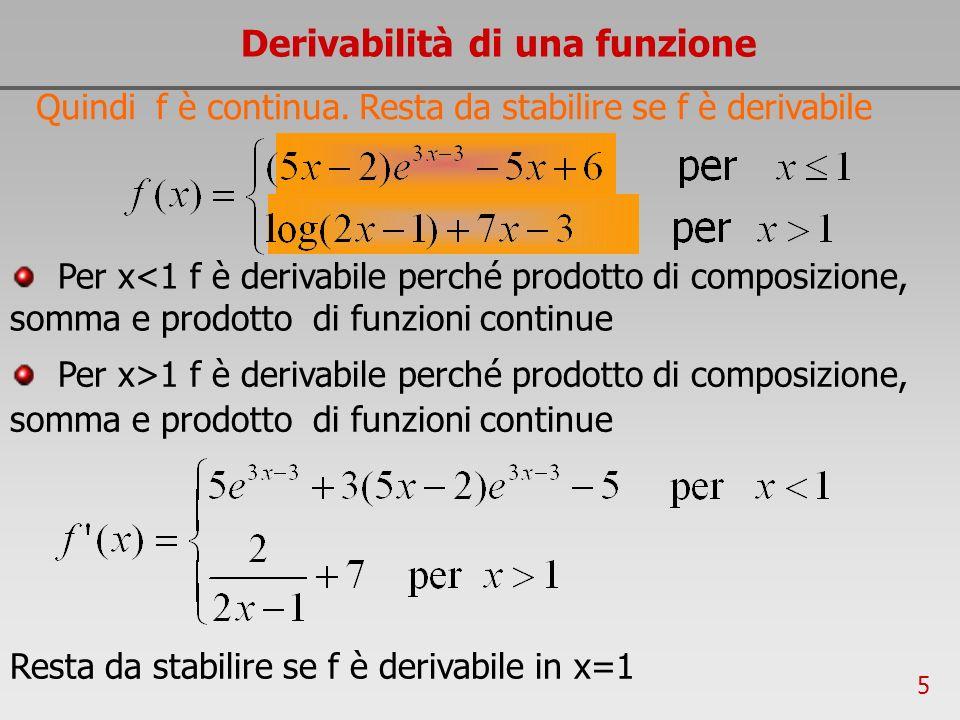 5 Derivabilità di una funzione Quindi f è continua. Resta da stabilire se f è derivabile Resta da stabilire se f è derivabile in x=1 Per x<1 f è deriv