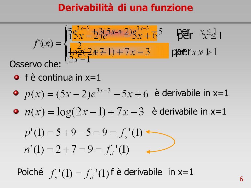 6 è derivabile in x=1 Derivabilità di una funzione Osservo che: f è continua in x=1 Poiché f è derivabile in x=1 è derivabile in x=1