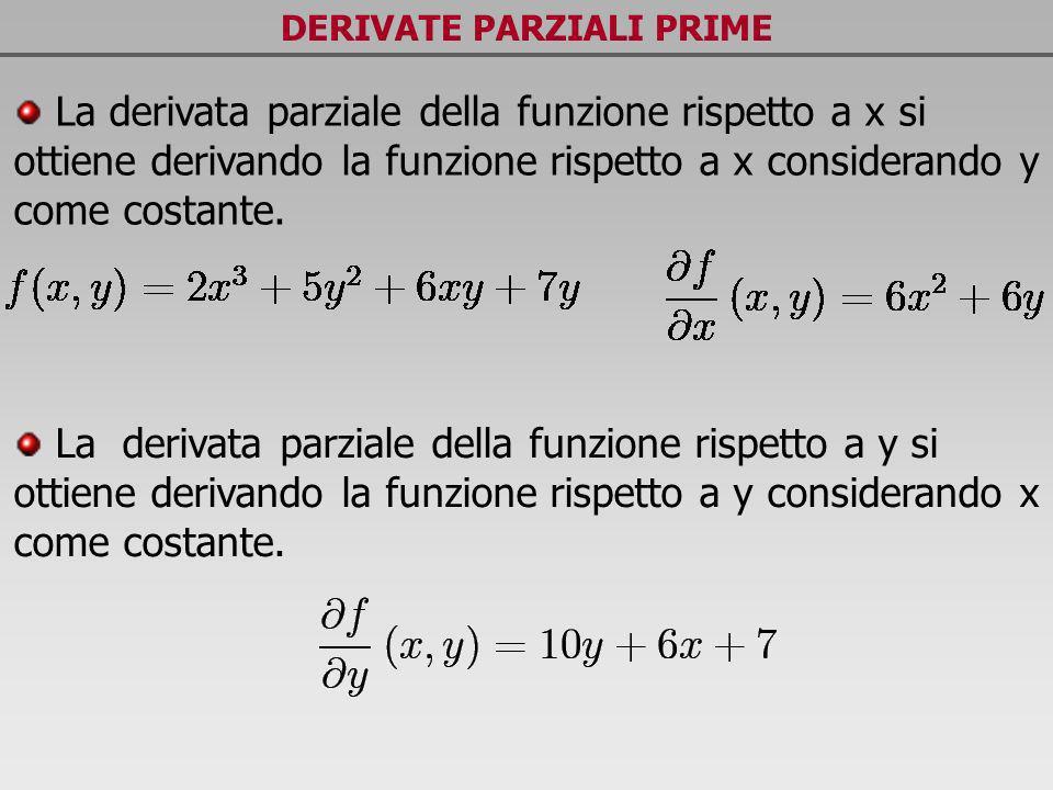 DERIVATE PARZIALI PRIME La derivata parziale della funzione rispetto a x si ottiene derivando la funzione rispetto a x considerando y come costante. L