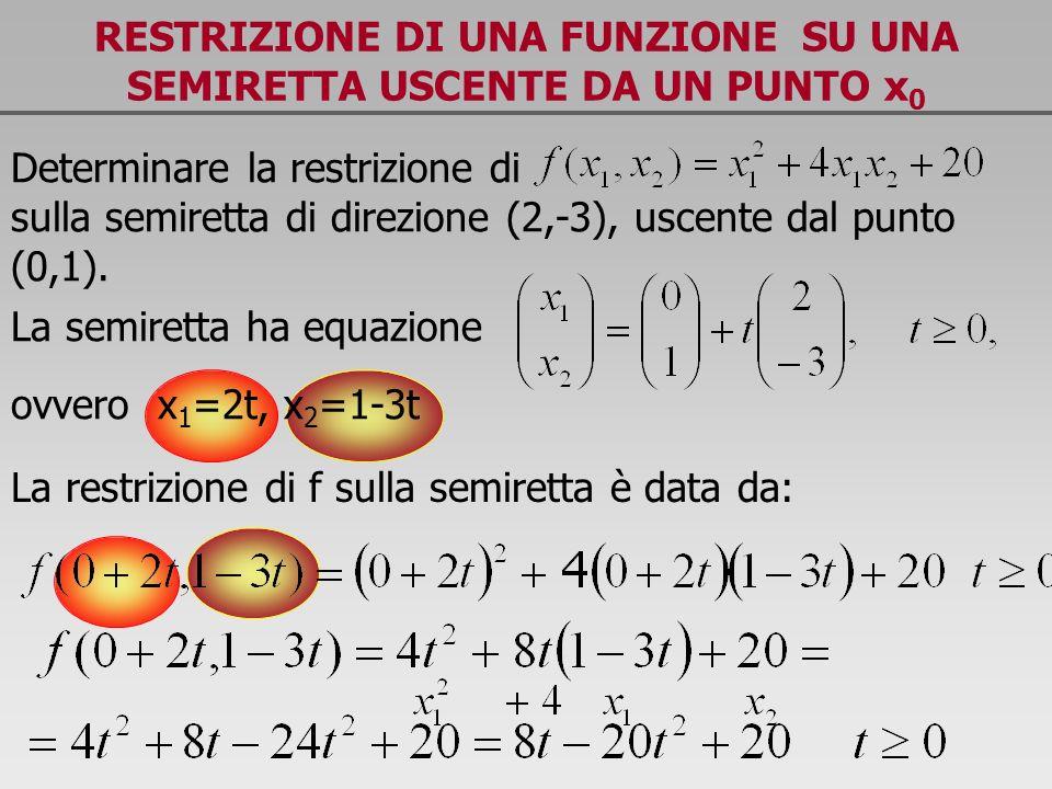 RESTRIZIONE DI UNA FUNZIONE SU UNA SEMIRETTA USCENTE DA UN PUNTO x 0 Determinare la restrizione di sulla semiretta di direzione (2,-3), uscente dal pu