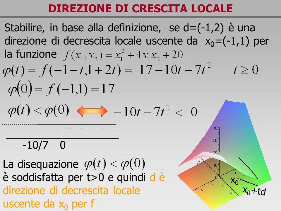 DIREZIONE DI CRESCITA LOCALE x0x0 x 0 +td Stabilire, in base alla definizione, se d=(-1,2) è una direzione di decrescita locale uscente da x 0 =(-1,1)