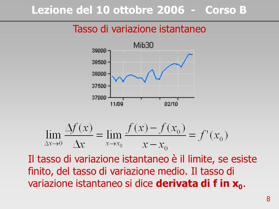 8 Lezione del 10 ottobre 2006 - Corso B Tasso di variazione istantaneo Il tasso di variazione istantaneo è il limite, se esiste finito, del tasso di variazione medio.