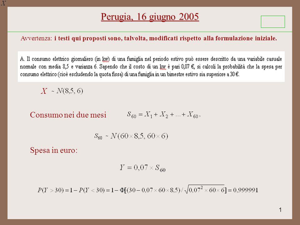 1 Perugia, 16 giugno 2005 ~ X Consumo nei due mesi ~ Spesa in euro: Avvertenza: i testi qui proposti sono, talvolta, modificati rispetto alla formulazione iniziale.