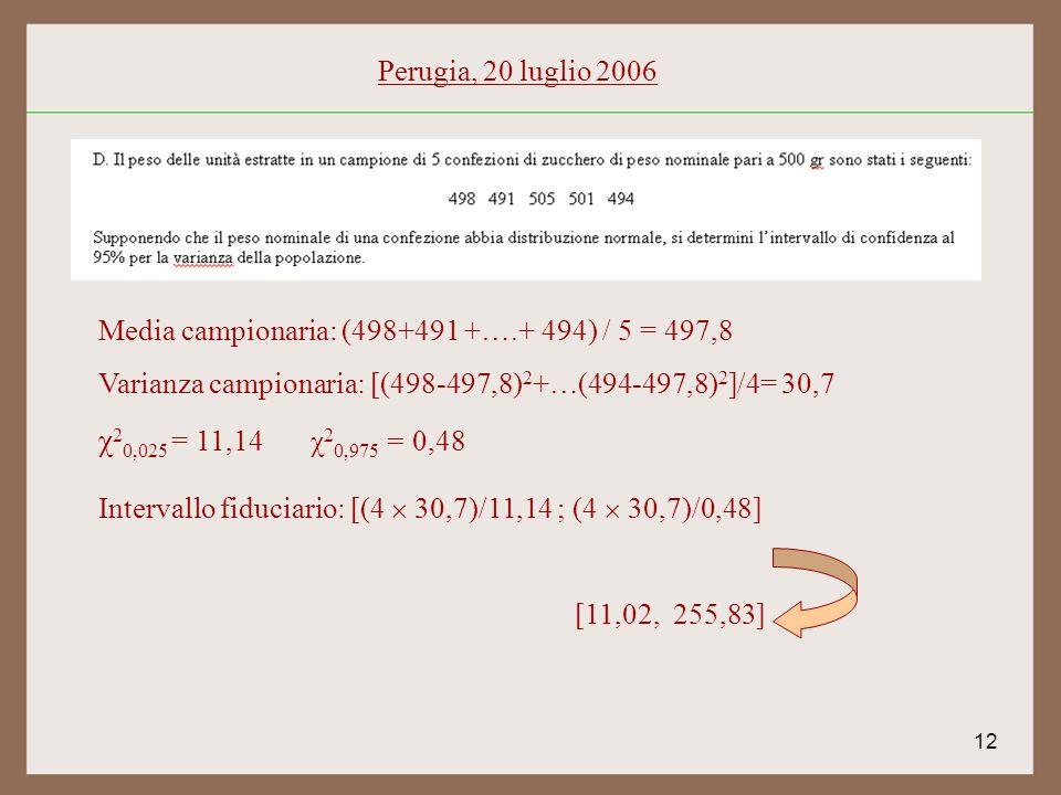 12 Perugia, 20 luglio 2006 Media campionaria: (498+491 +….+ 494) / 5 = 497,8 Varianza campionaria: [(498-497,8) 2 +…(494-497,8) 2 ]/4= 30,7 χ 2 0,025 = 11,14χ 2 0,975 = 0,48 Intervallo fiduciario: [(4 30,7)/11,14 ; (4 30,7)/0,48] [11,02, 255,83]