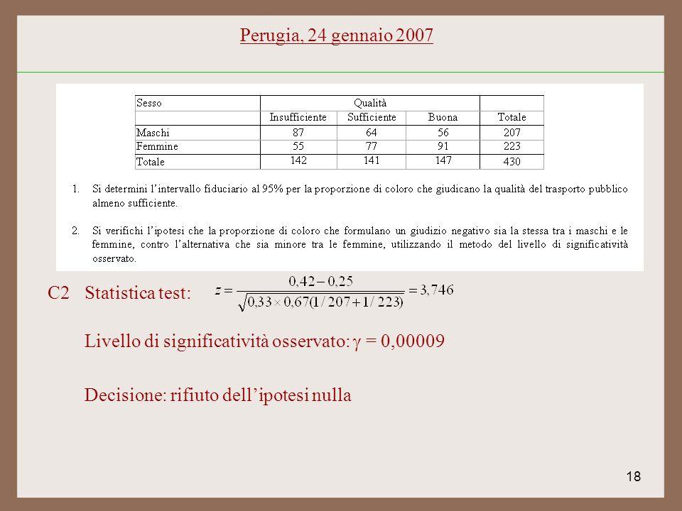 18 C2Statistica test: Livello di significatività osservato: = 0,00009 Decisione: rifiuto dellipotesi nulla Perugia, 24 gennaio 2007