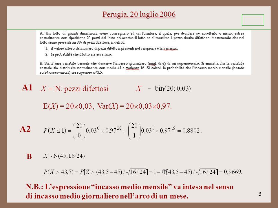 3 Perugia, 20 luglio 2006 ~ X A1 A2 X = N. pezzi difettosi E(X) = 20 0,03, Var(X) = 20 0,03 0,97.