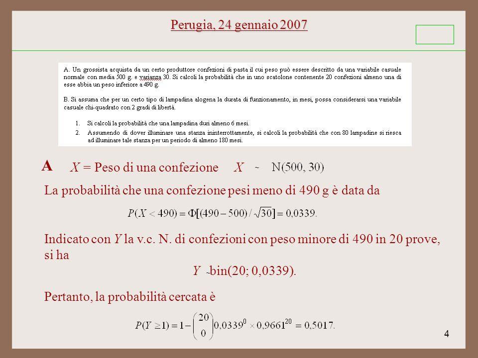 4 Perugia, 24 gennaio 2007 ~ X A Indicato con Y la v.c.