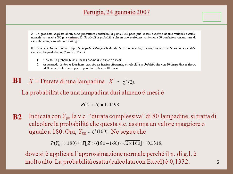 5 Perugia, 24 gennaio 2007 ~ X B1 Indicata con Y 80 la v.c.
