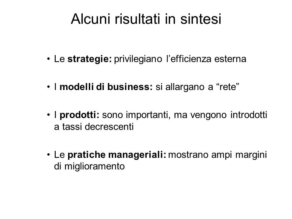 Alcuni risultati in sintesi Le strategie: privilegiano lefficienza esterna I modelli di business: si allargano a rete I prodotti: sono importanti, ma vengono introdotti a tassi decrescenti Le pratiche manageriali: mostrano ampi margini di miglioramento