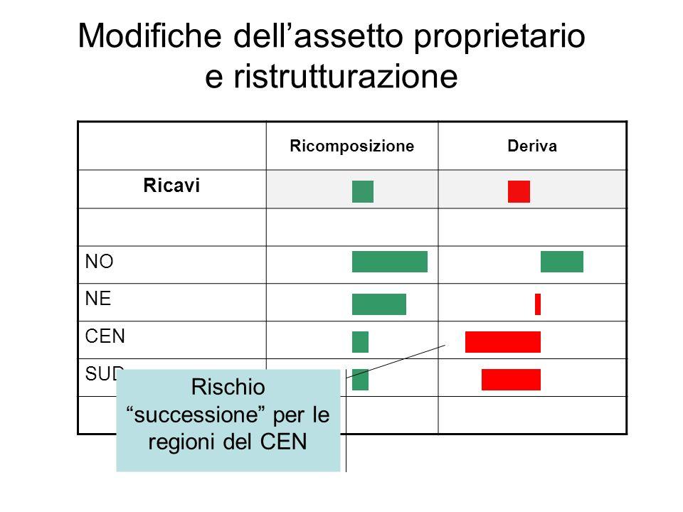 Modifiche dellassetto proprietario e ristrutturazione RicomposizioneDeriva Ricavi NO NE CEN SUD Rischio successione per le regioni del CEN