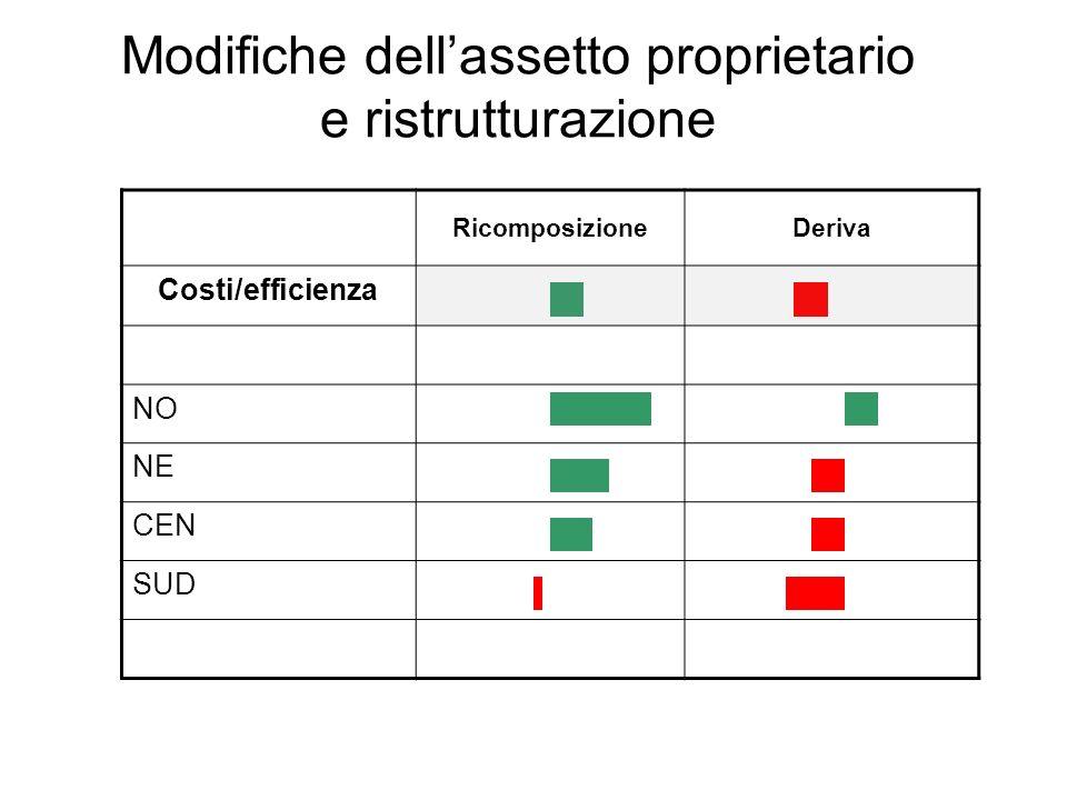 Modifiche dellassetto proprietario e ristrutturazione RicomposizioneDeriva Costi/efficienza NO NE CEN SUD