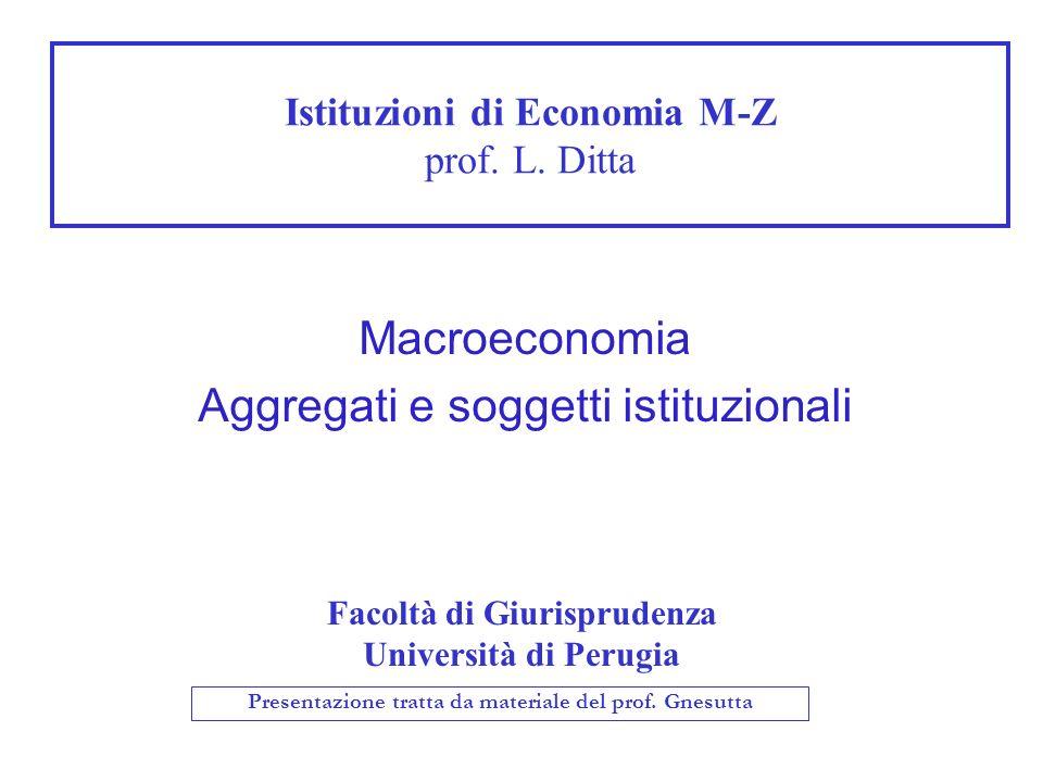 Istituzioni di Economia M-Z prof. L. Ditta Facoltà di Giurisprudenza Università di Perugia Macroeconomia Aggregati e soggetti istituzionali Presentazi