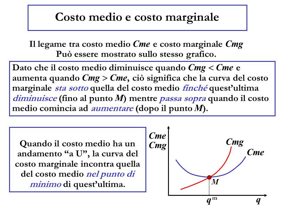 Costo medio e costo marginale Il legame tra costo medio Cme e costo marginale Cmg Può essere mostrato sullo stesso grafico.