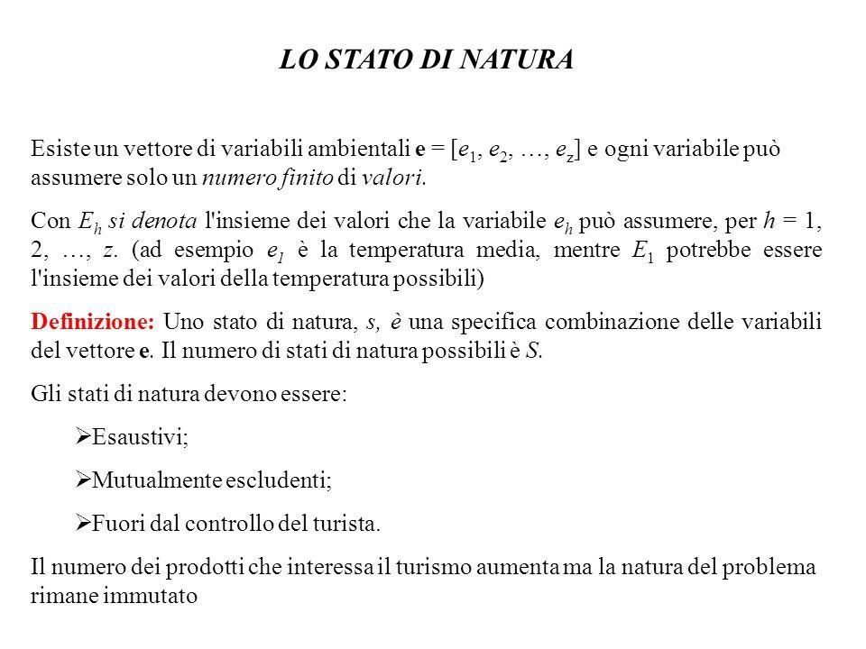 LO STATO DI NATURA Esiste un vettore di variabili ambientali e = [e 1, e 2, …, e z ] e ogni variabile può assumere solo un numero finito di valori. Co