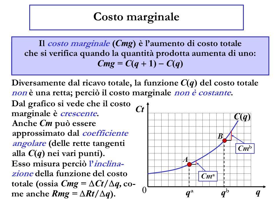 Costo marginale Il costo marginale ( Cm ) è laumento di costo totale che si sopporta quando la quantità prodotta aumenta di uno: Cm = C(q 1) C(q) Dive