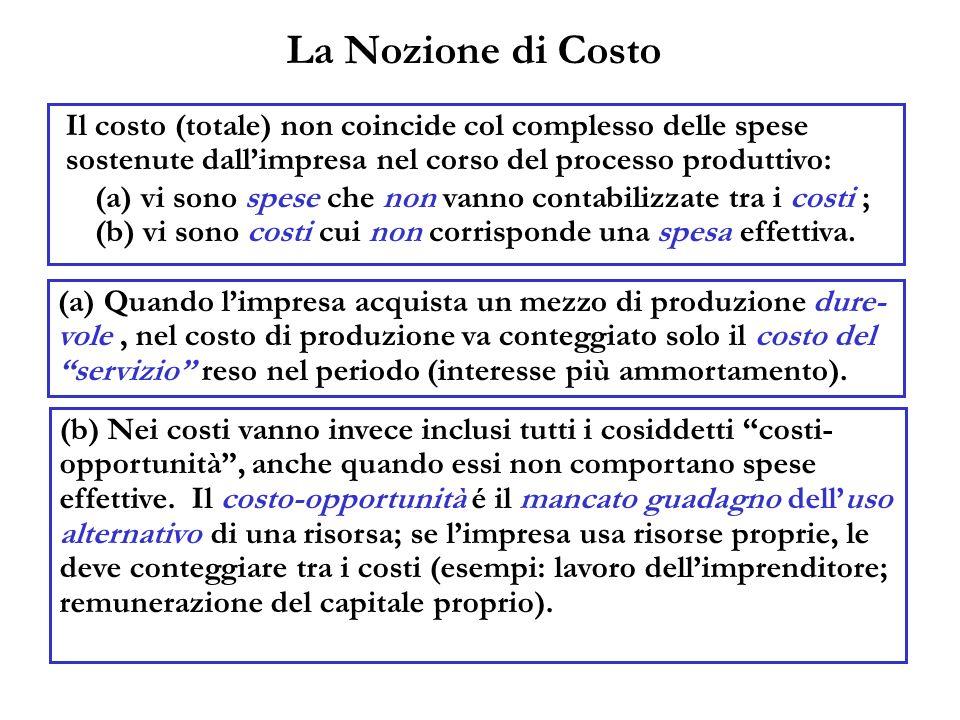La Nozione di Costo Il costo (totale) non coincide col complesso delle spese sostenute dallimpresa nel corso del processo produttivo: (a) Quando limpr