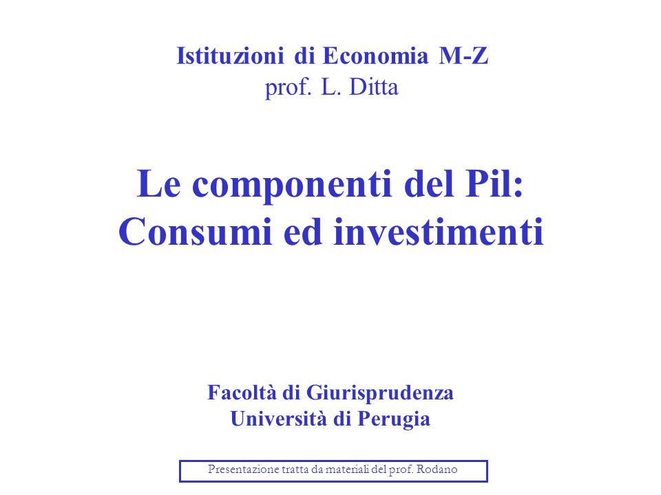 Istituzioni di Economia M-Z prof. L. Ditta Le componenti del Pil: Consumi ed investimenti Facoltà di Giurisprudenza Università di Perugia Presentazion