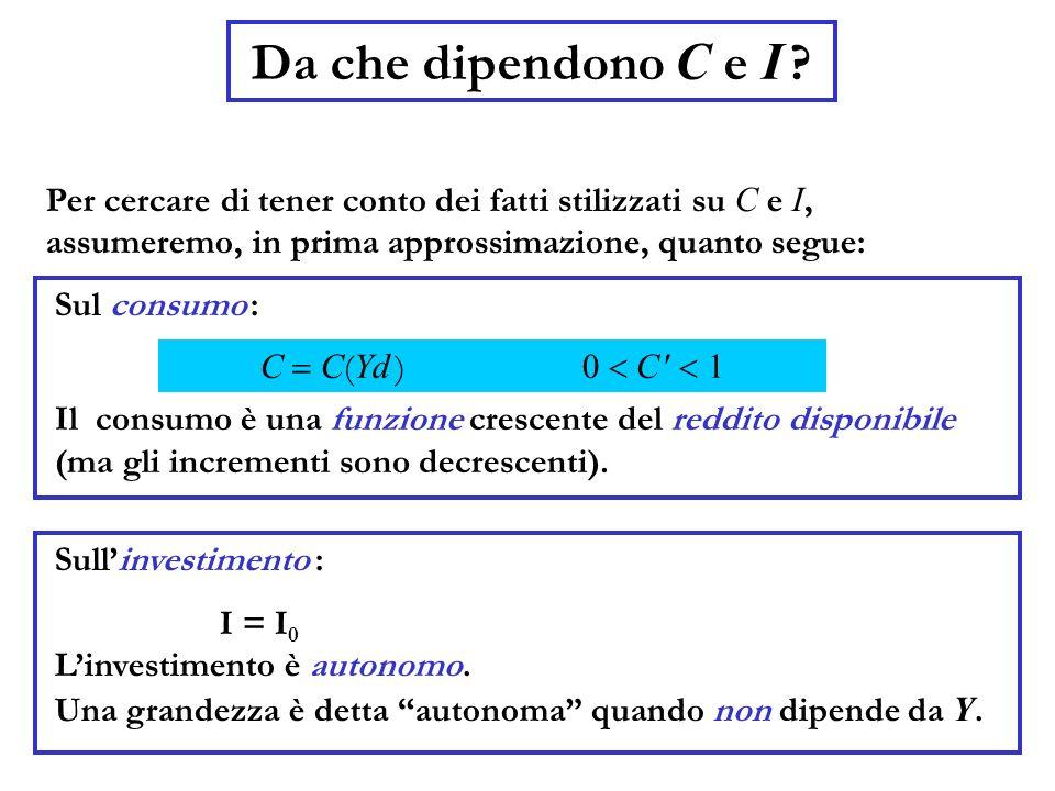 Da che dipendono C e I ? Linvestimento è autonomo. Una grandezza è detta autonoma quando non dipende da Y. Per cercare di tener conto dei fatti stiliz