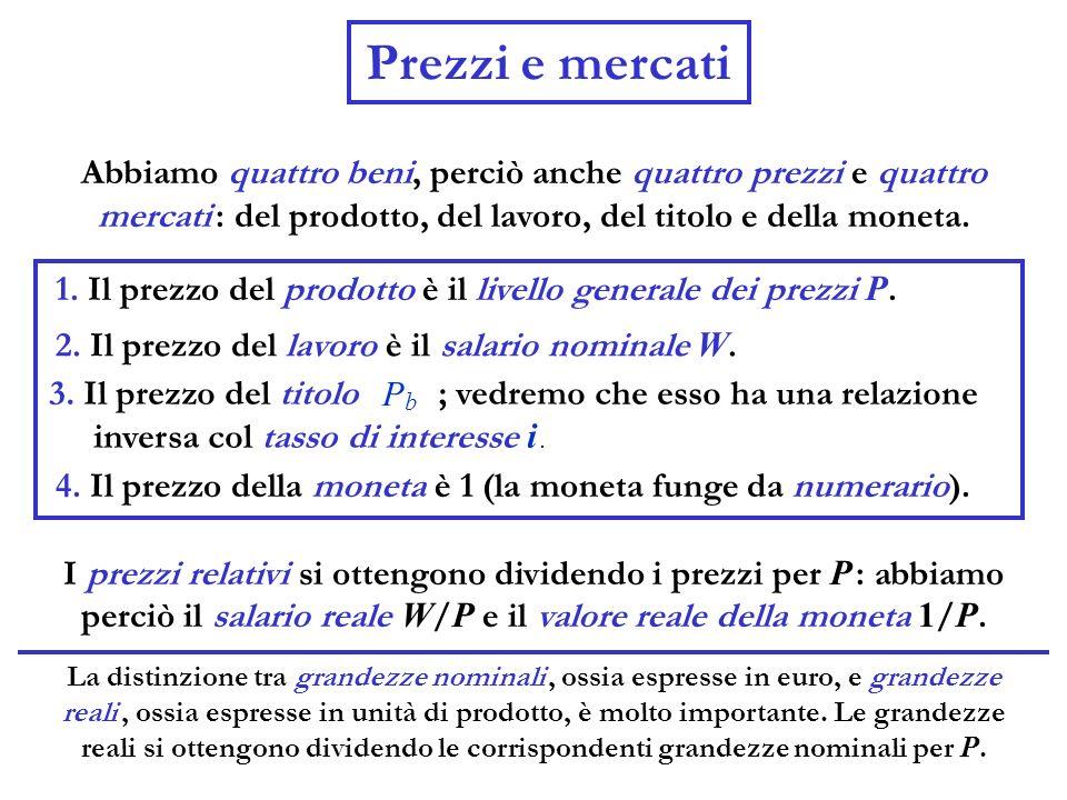 Abbiamo quattro beni, perciò anche quattro prezzi e quattro mercati : del prodotto, del lavoro, del titolo e della moneta. Prezzi e mercati 1. Il prez
