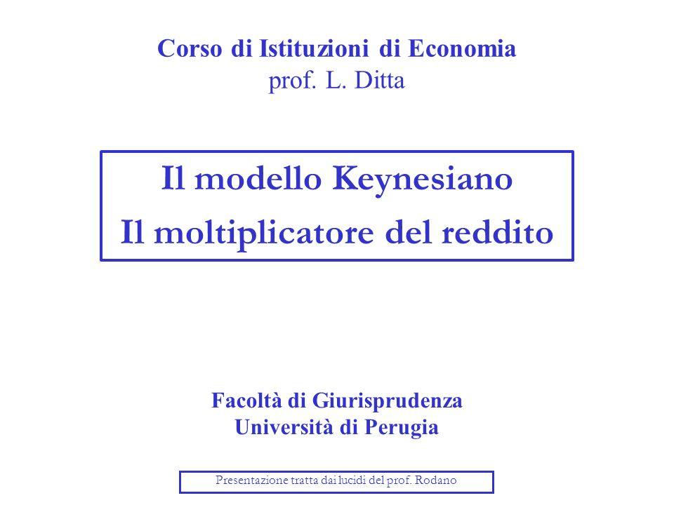 Corso di Istituzioni di Economia prof. L. Ditta Il modello Keynesiano Il moltiplicatore del reddito Facoltà di Giurisprudenza Università di Perugia Pr