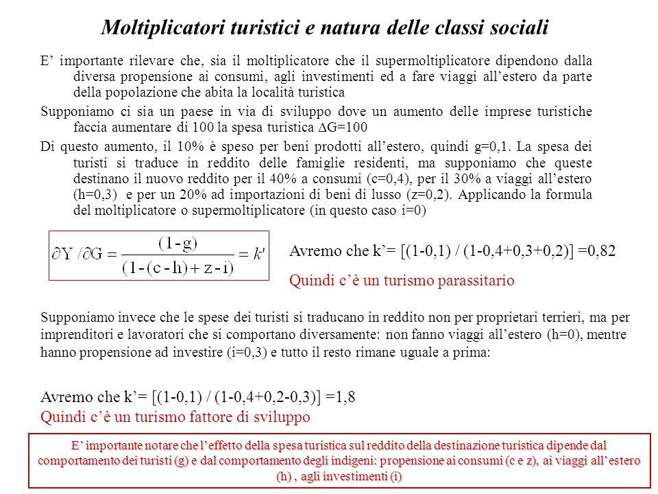 Moltiplicatori turistici e natura delle classi sociali E importante rilevare che, sia il moltiplicatore che il supermoltiplicatore dipendono dalla div