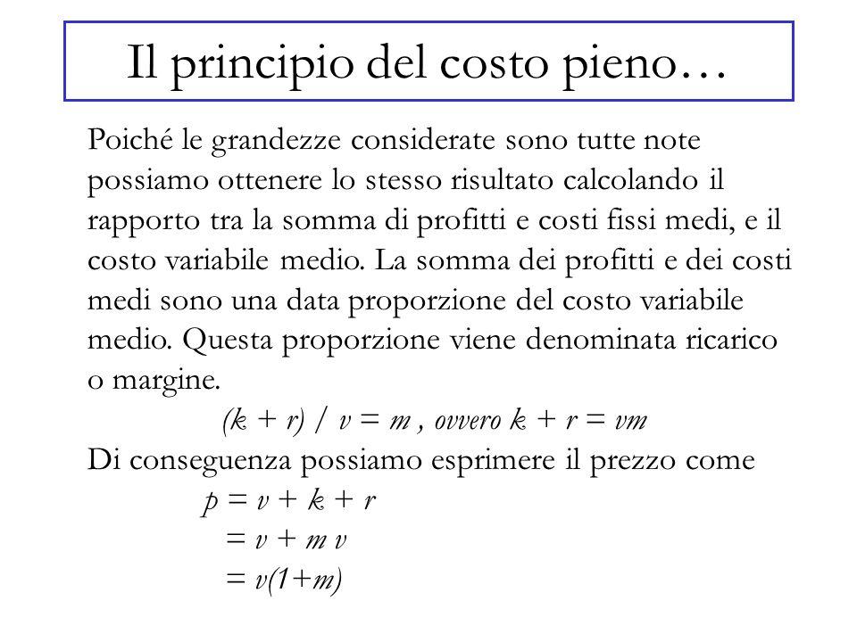 Il principio del costo pieno… Poiché le grandezze considerate sono tutte note possiamo ottenere lo stesso risultato calcolando il rapporto tra la somm
