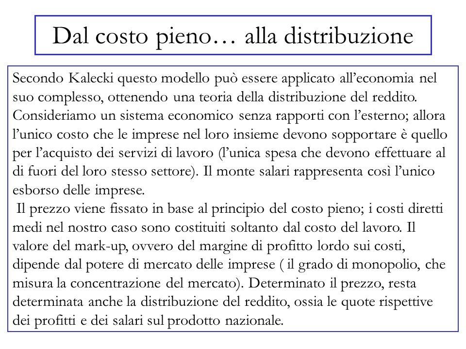 Dal costo pieno… alla distribuzione Secondo Kalecki questo modello può essere applicato alleconomia nel suo complesso, ottenendo una teoria della dist