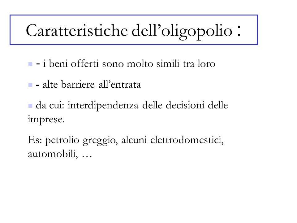 Caratteristiche delloligopolio : - i beni offerti sono molto simili tra loro - alte barriere allentrata da cui: interdipendenza delle decisioni delle