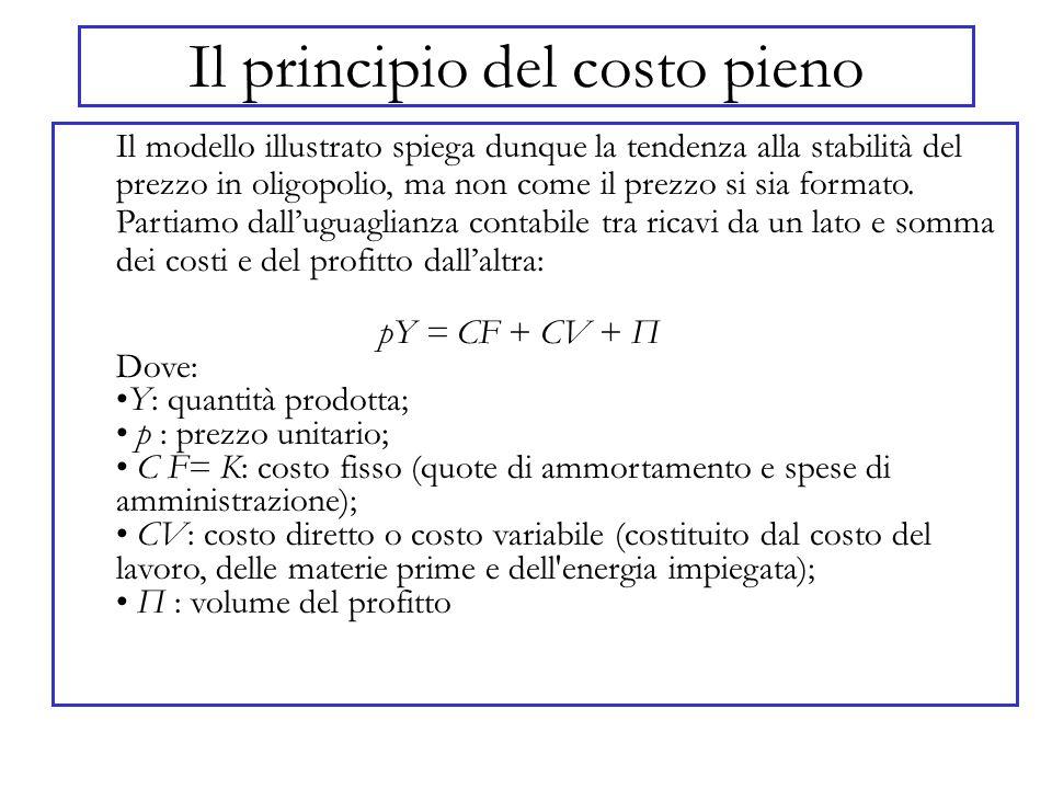 Il principio del costo pieno Il modello illustrato spiega dunque la tendenza alla stabilità del prezzo in oligopolio, ma non come il prezzo si sia for