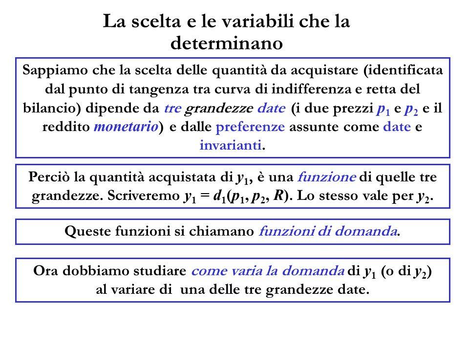 La scelta e le variabili che la determinano Perciò la quantità acquistata di y 1, è una funzione di quelle tre grandezze. Scriveremo y 1 = d 1 (p 1, p