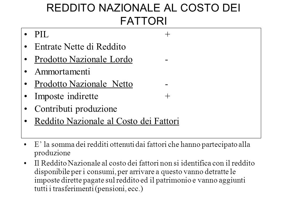 REDDITO NAZIONALE AL COSTO DEI FATTORI PIL+ Entrate Nette di Reddito Prodotto Nazionale Lordo- Ammortamenti Prodotto Nazionale Netto - Imposte indiret