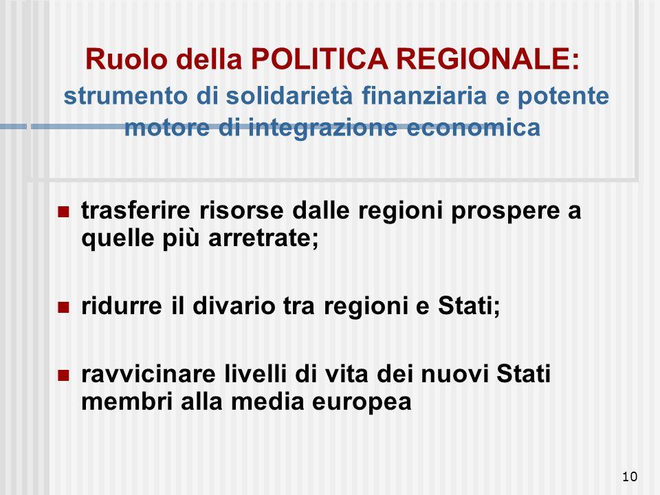 9 Da questo momento in poi ciò che prima era solo a carico delle politiche regionali nazionali, è ora necessariamente centralizzato a livello comunita