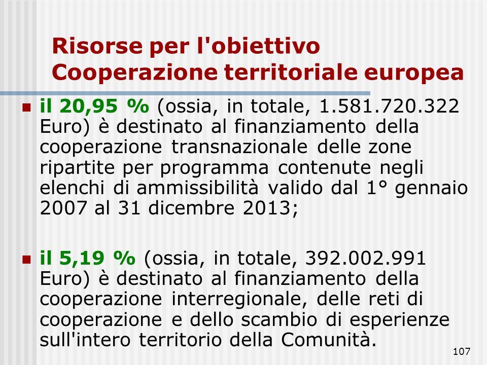 106 Risorse per l'obiettivo Cooperazione territoriale europea il 73,86 % (ossia, in totale, 5.576.358.149 Euro) è destinato al finanziamento della coo