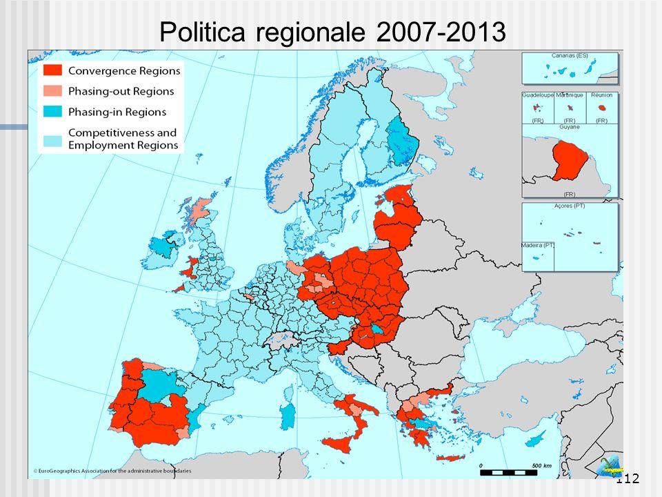 111 Politica regionale: confronto 2000-2006 // 2007-2013 Finanziamento: 2000-2006: 195 miliardi Euro Obiettivo 1 (Sviluppo aree in ritardo): 69,7% - 1