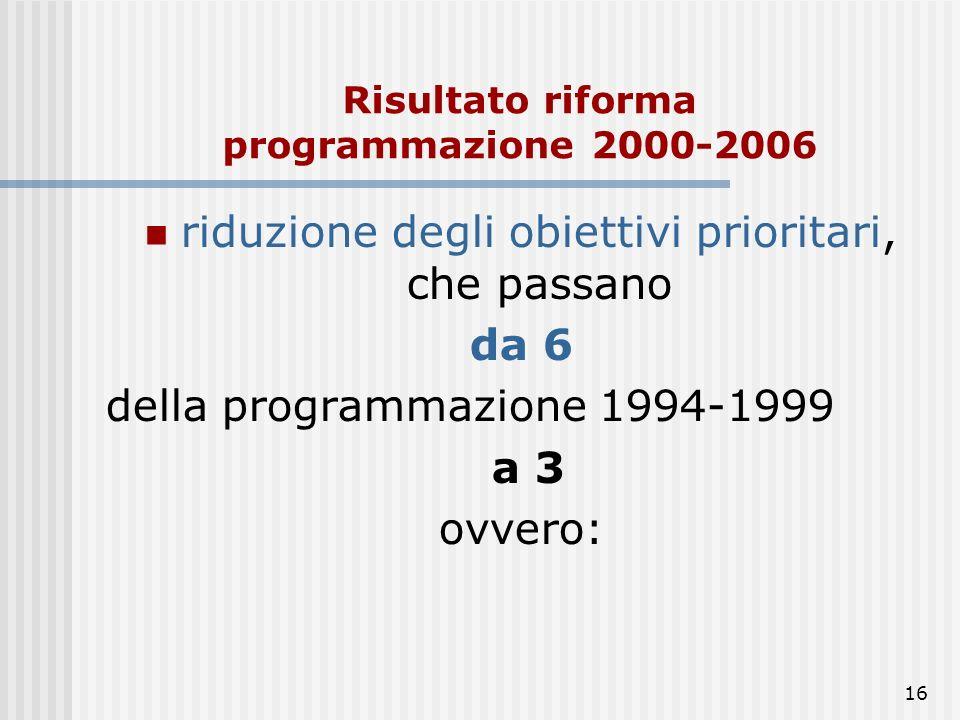 15 Il ciclo di programmazione 1994-1999 era strutturato in sei obiettivi prioritari: Obiettivo 1: promuovere lo sviluppo e l'adeguamento strutturale d