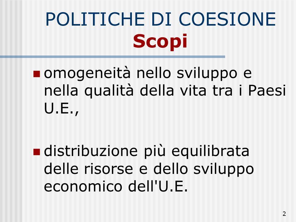 2 POLITICHE DI COESIONE Scopi omogeneità nello sviluppo e nella qualità della vita tra i Paesi U.E., distribuzione più equilibrata delle risorse e dello sviluppo economico dell U.E.