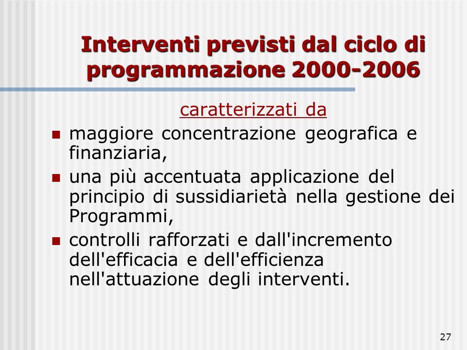 26 Politica di coesione viene attuata mediante l'elaborazione di programmi pluriennali (cicli di programmazione) ne definiscono gli obiettivi ed indiv