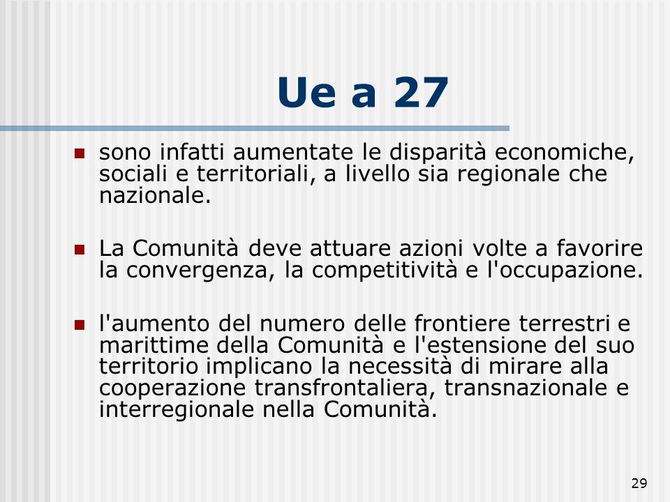 28 UE a 27 Gli sviluppi della programmazione comunitaria per il periodo 2007-2013 testimoniano la continua evoluzione dello scenario economico, politi