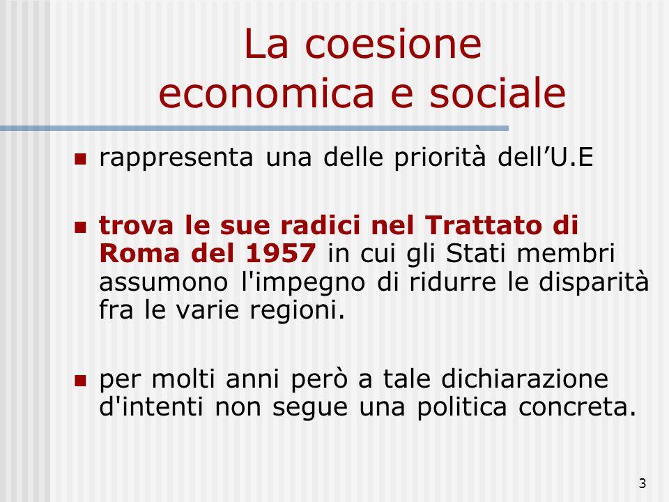 73 Lefficacia della politica di coesione (2) Processo di convergenza: riduzione dal 1970 al 1995 del rapporto tra reddito regioni ricche e povere (Pil e Ppa pro capite) Dal 1993 convergenza di reddito pro capite anche per incremento (8 punti perc.in 10 anni) del Pil pro capite delle regioni della coesione Variazioni nella mappa dello sviluppo: spostamento epicentro della forza economica europea (verso sud) e aree di relativo sottosviluppo in regioni con vecchie aree industriali (Gran Bretagna, Belgio, Olanda); crescente attenzione UE a problemi territoriali di ristrutturazione e riconversione industriale Evoluzione disparità regionali oggetto di attenzioni di economisti regionali e Commissione UE (rapporti periodici sulla situazione econ.