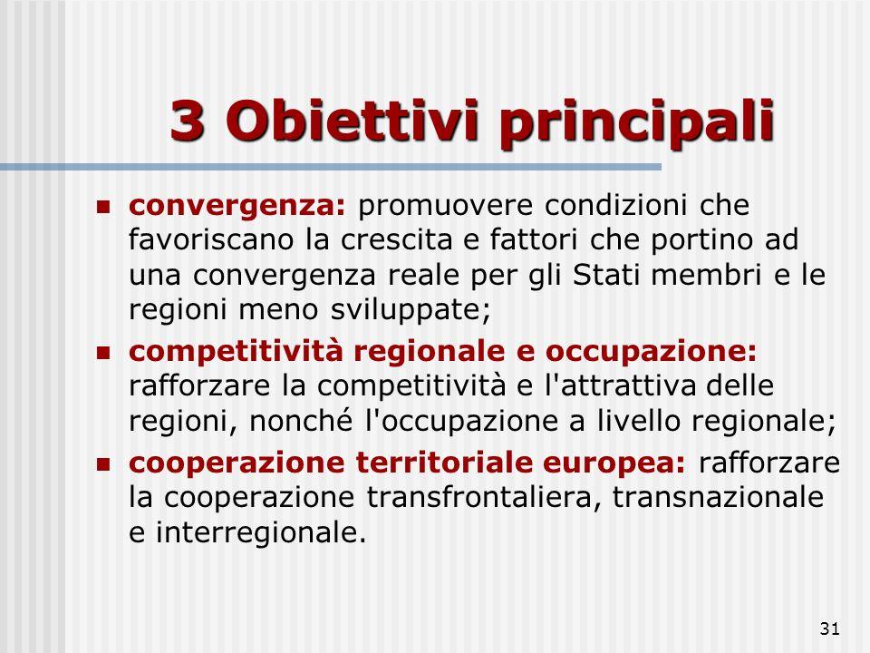 30 Politica di coesione Il Regolamento (CE) n. 1083/2006 dell'11 luglio 2006 sua articolazione nei seguenti tre obiettivi prioritari: Il Regolamento (