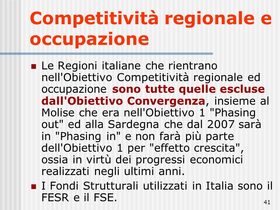 40 Competitività regionale e occupazione 15,95% percentuale delle risorse assegnate all'Obiettivo Competitività regionale ed occupazione rispetto al t
