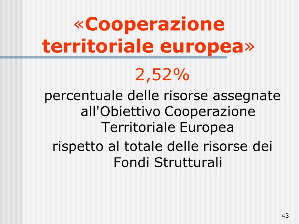42 obiettivo «Cooperazione territoriale europea» cooperazione transfrontaliera mediante iniziative congiunte a livello locale e regionale; cooperazion