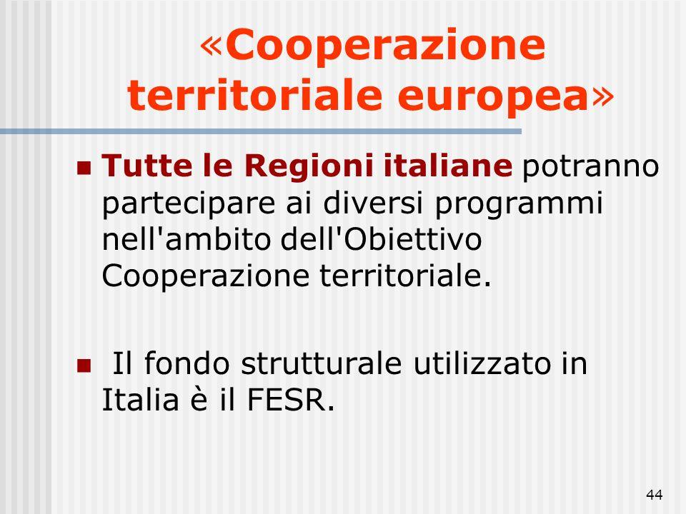 43 «Cooperazione territoriale europea» 2,52% percentuale delle risorse assegnate all'Obiettivo Cooperazione Territoriale Europea rispetto al totale de