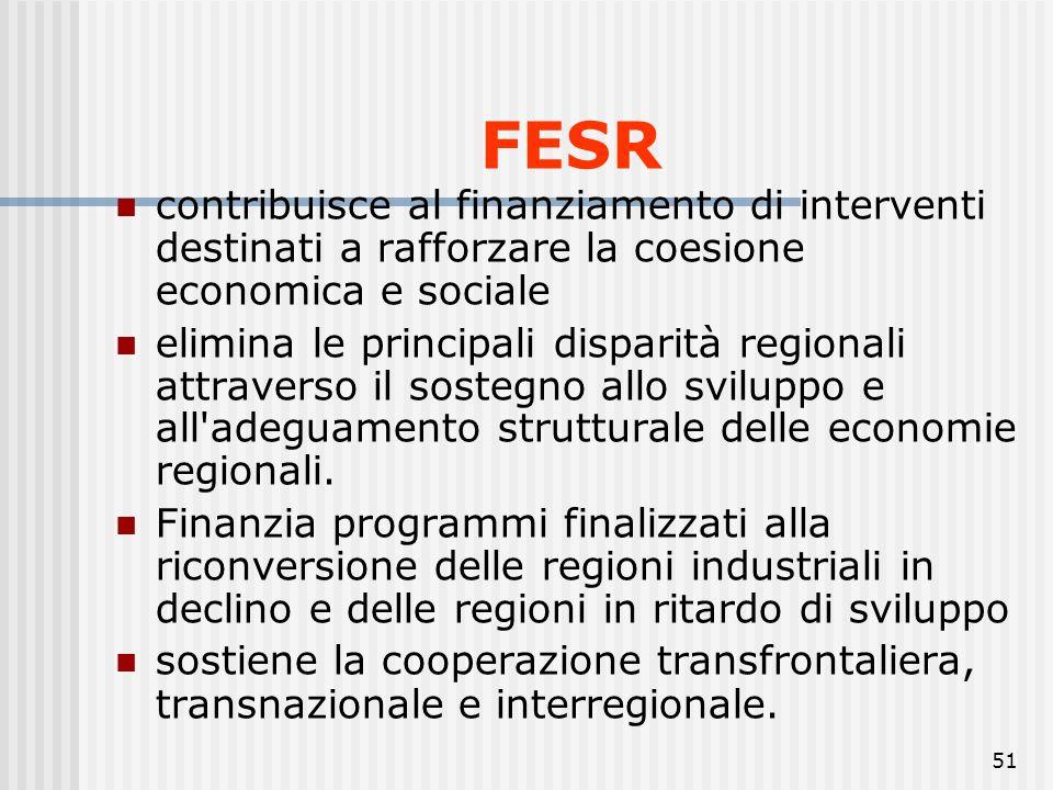 50 FESR Il Regolamento (CE) n. 1080/2006 definisce i compiti del Fondo europeo di sviluppo regionale (FESR), il campo di applicazione del suo interven