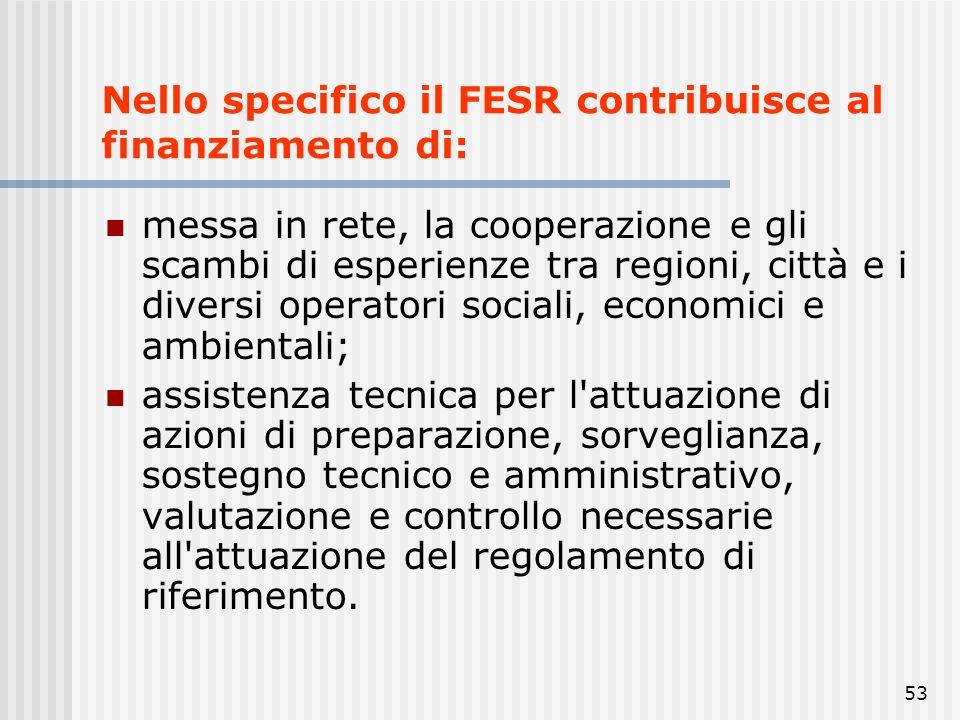 52 Nello specifico il FESR contribuisce al finanziamento di: investimenti che contribuiscono alla creazione e al mantenimento di posti di lavoro stabi