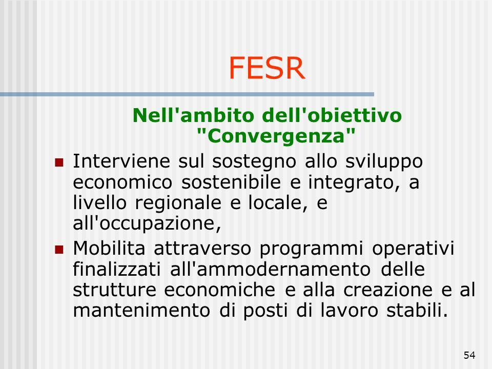 53 Nello specifico il FESR contribuisce al finanziamento di: messa in rete, la cooperazione e gli scambi di esperienze tra regioni, città e i diversi