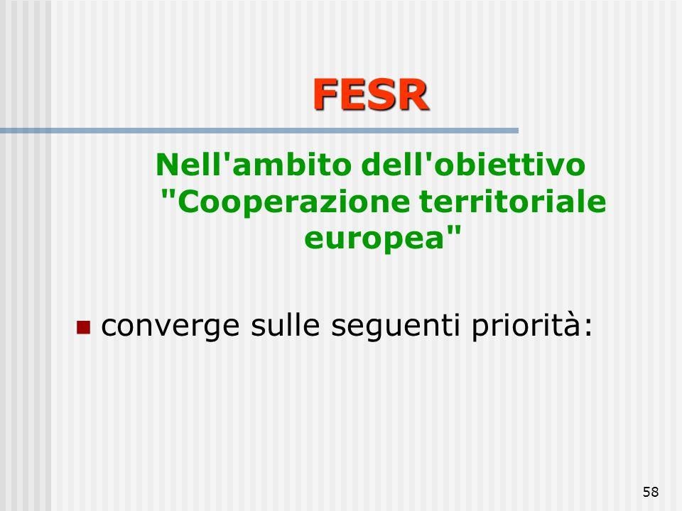 57 1. ambiente e prevenzione dei rischi; 2. accesso ai servizi di trasporto e di telecomunicazioni di interesse economico; 3. innovazione della conosc