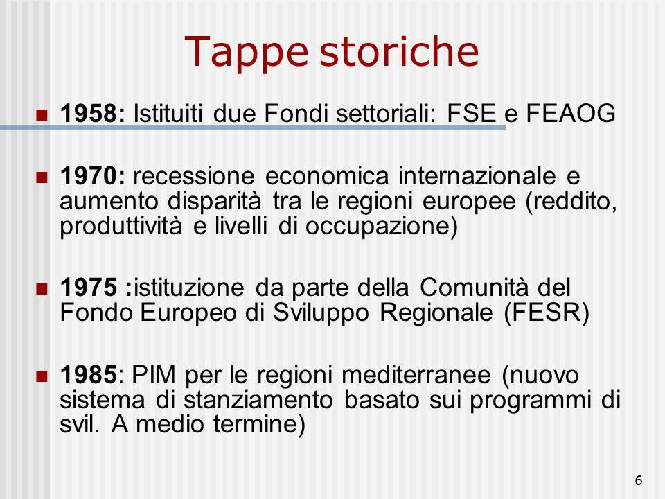 6 Tappe storiche 1958: Istituiti due Fondi settoriali: FSE e FEAOG 1970: recessione economica internazionale e aumento disparità tra le regioni europee (reddito, produttività e livelli di occupazione) 1975 :istituzione da parte della Comunità del Fondo Europeo di Sviluppo Regionale (FESR) 1985: PIM per le regioni mediterranee (nuovo sistema di stanziamento basato sui programmi di svil.