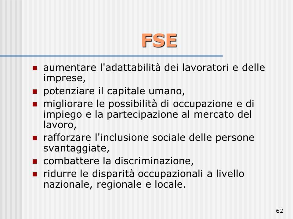 61 L'obiettivo del FSE rafforzare la coesione economica e sociale migliorare le possibilità di occupazione